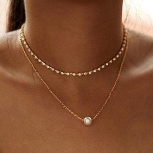 Jewelry - Pearl Pendant Layered Gold Choker Necklace